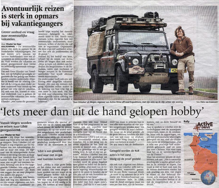 Krant artikel 4x4 Libië Expeditie